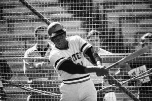 Roberto Clemente Taking Batting Practice